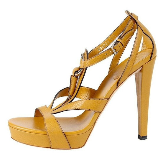 40026 auth GUCCI mustard yellow leather Platform S