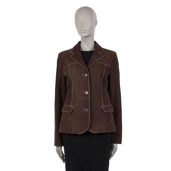 40252 auth PRADA dark brown leather Blazer Jacket