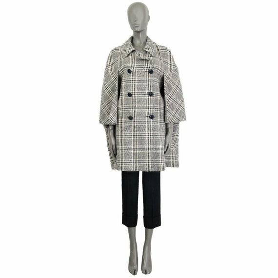 62042 auth GUCCI grey CHECK WOOl madras cape Coat