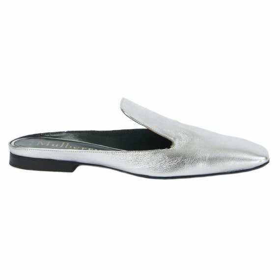 54306 auth MULBERRY silver leather Mules Slippers