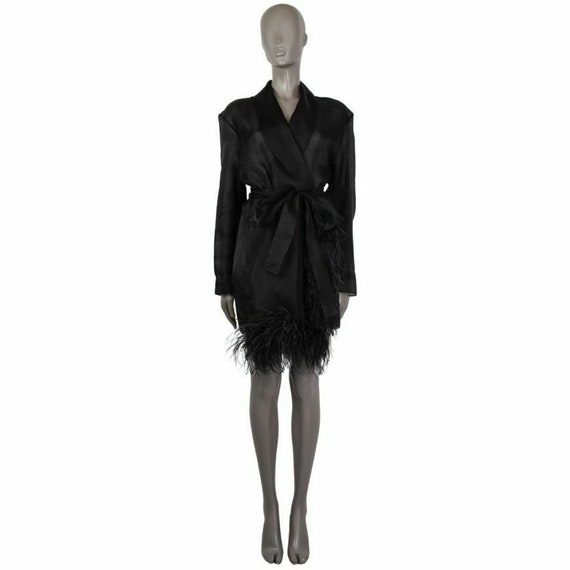 59240 auth PRADA black tulle FEATHER TRIM Belted R