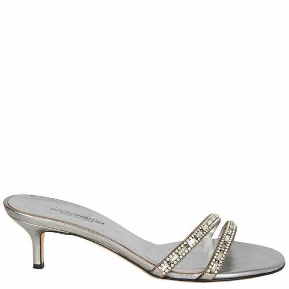 59335 auth Dolce & Gabbana silver RHINESTONE EMBEL