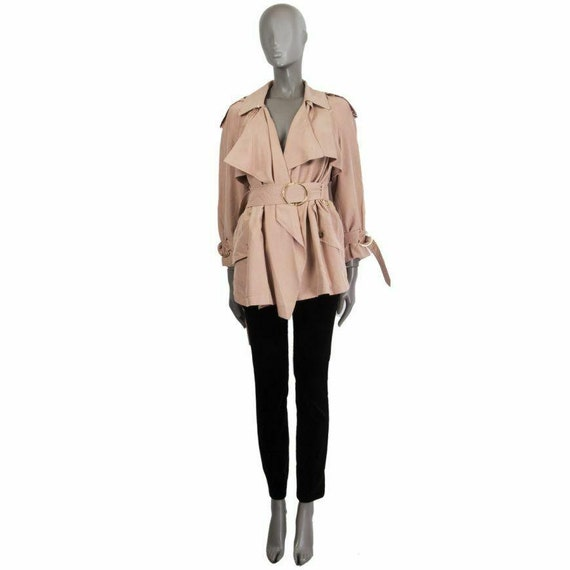 60410 auth BURBERRY dusty rose silk Short Trench C