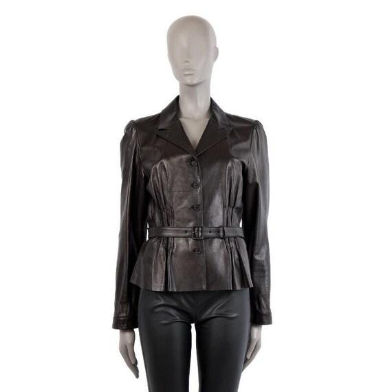 40369 auth PRADA black leather BELTED Jacket 46 XL