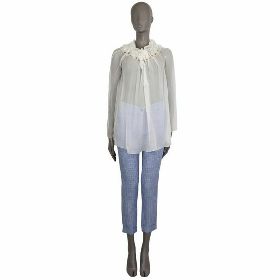 57009 auth CHLOE white silk SHEER RUFFLED Blouse S