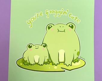 You're Froggin' Cute Art Print, 8 x 8 inches, 189gsm