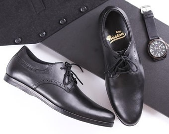 Handmade Shoes for Men Boston Oriol, Men's Leather Shoes with Waxed Shoelaces, Stylish And Trendy Black Shoes for Men, Black Casual Shoes