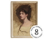 Lady Hester Art Print Printable Wall Art Vintage Woman Studio Portrait Oil On Canvas Painting Posters Home Decor Digital Download