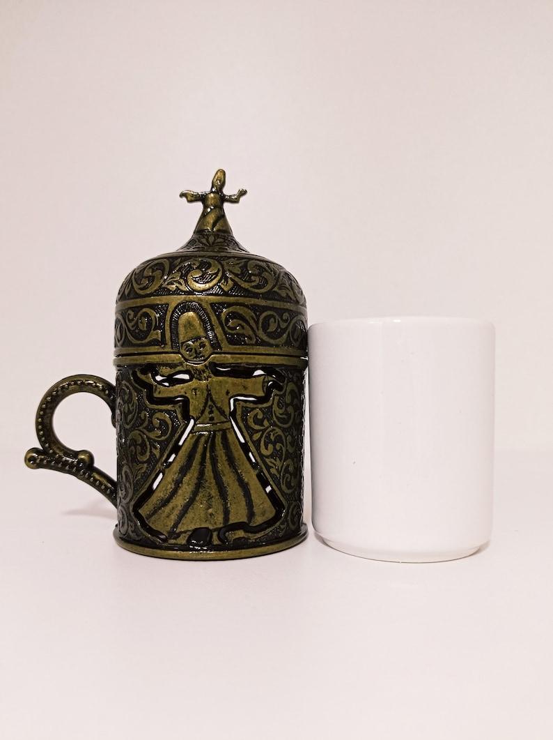Traditional Turkish Handmade Coffee Cup Saucer Cover Espresso Ottoman Brass Gift Islam Gift Islam