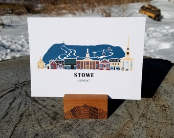 Stowe Vermont Cityscape | Art Print | Thick Recycled Cardstock