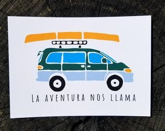 Adventure Van | Art Print | Thick Recycled Cardstock | Van Life