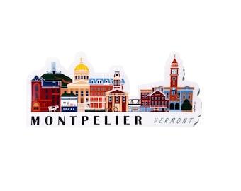 Montpelier Vermont Cityscape | Sticker | Weatherproof Vinyl