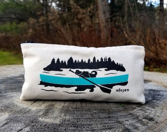 Canoeing Adventure Dog | Zippered Pouch | Recycled Cotton