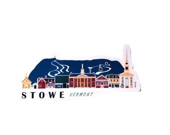 Stowe Vermont Cityscape | Sticker | Weatherproof Vinyl