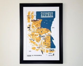 Patagonia Austral Map Poster | Chile | Thick Recycled Cardstock | Torres del Paine