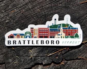 Brattleboro Vermont Cityscape | Sticker | Weatherproof Vinyl