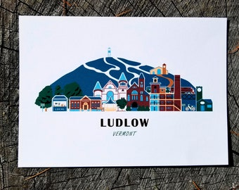 Ludlow Vermont Cityscape | Art Print | Thick Recycled Cardstock