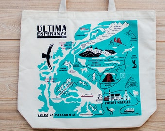 Patagonia Jumbo Tote Bag | Ultima Esperanza Map | Chile | Recycled Cotton