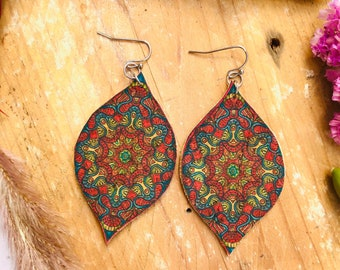 gift for yoga teachers vegan gift for mom mandala earrings bohemian earrings Cork earrings mothers day gift birthday gift for daughter