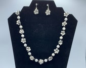 Breezy Black & White Floral Fimo Necklace and Earrings set