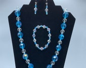 Bold, Chunky Aqua Blue Necklace, Bracelet, and Earrings set