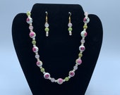 Ceramic Rose Necklace and Earrings set