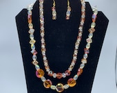 Orange Sparkle Necklace and Earrings set