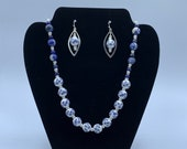 Ceramic Cornflower Necklace and Earrings set