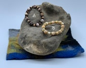 Agate & Wood or Mother of Pearl Bracelet