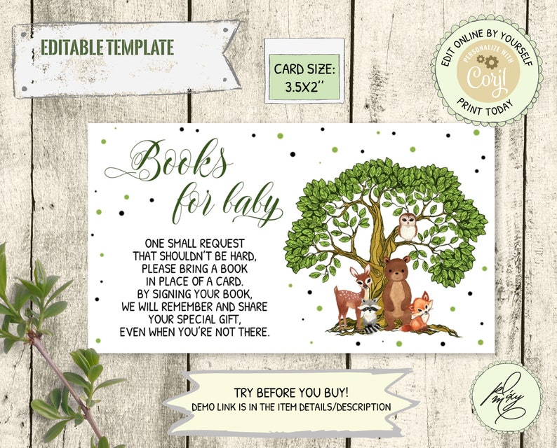 Editable template Gender neutral Forest animals book request card Woodland Books for Baby Card Woodland baby shower insert card PM002