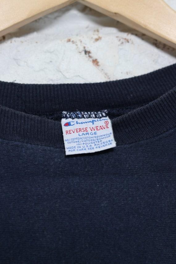 Vintage Champion Reverse Weave Logo Sweatshirt Bl… - image 3