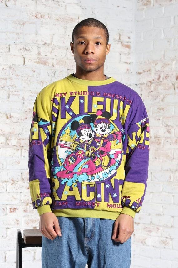 Vintage Mickey Mouse Cartoon Print Sweatshirt Purp