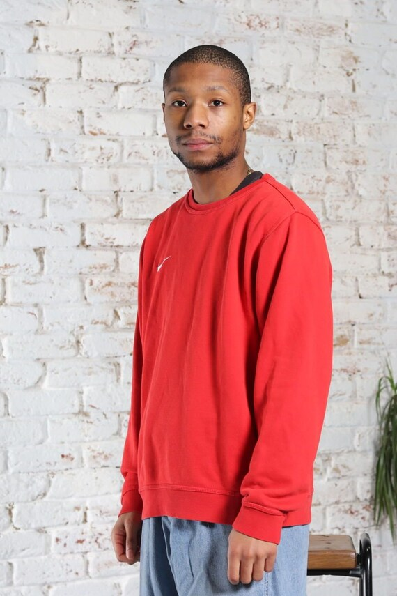 Vintage Nike Embroidered Logo Sweatshirt Red