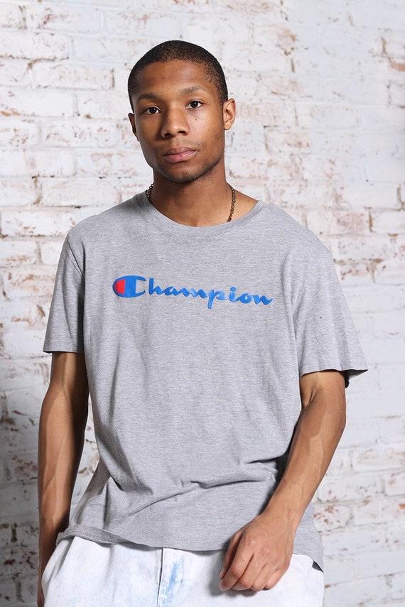 Vintage Champion Big Print Logo T-Shirt Grey