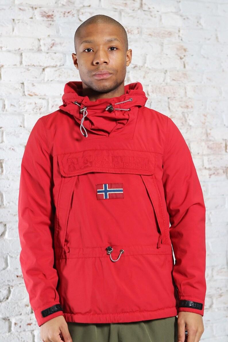 Vintage Napapijri Skidoo Big Logo Quilted Jacket Red
