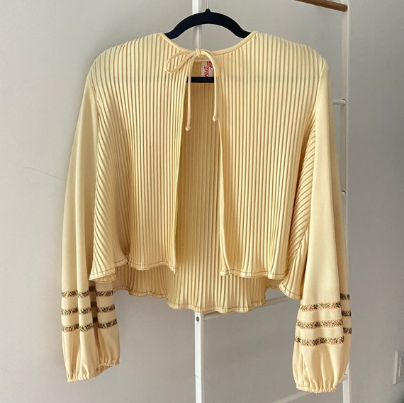 Vintage 70's Pleated Front Tie Top