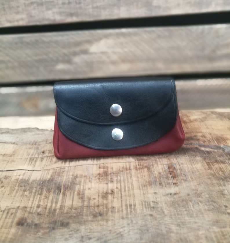 soft leather leather holder of bi-colored bellows 3 pockets