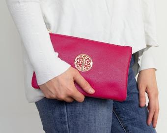 Fuschia Pink Envelope Clutch Bag Evening Bag Genuine Real Suede Leather Shoulder