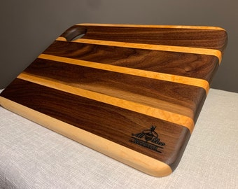 Birds Eye Maple and Walnut. Leaf etched bordered charcuterieserving board