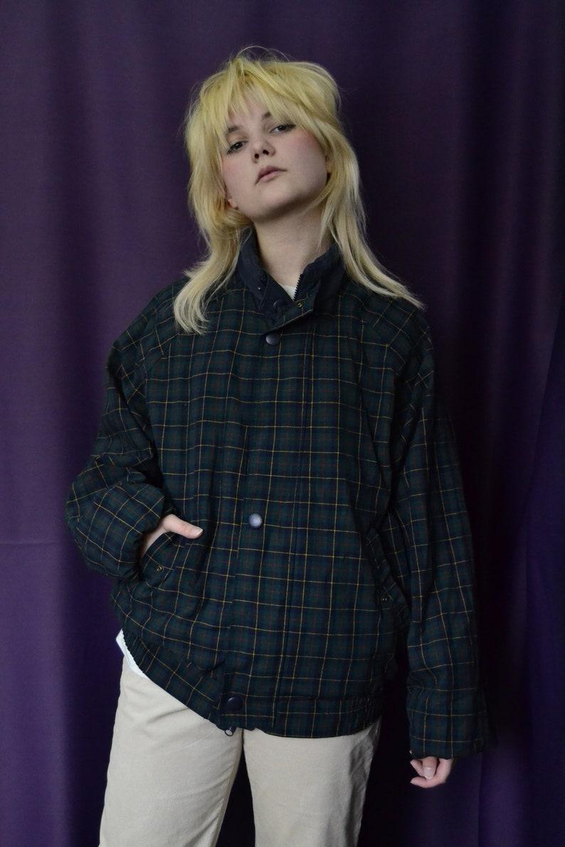 Plaid lining jacket Reversible double sided autumn outdoor jacket Harrington style jacket Cotton bomber Vintage Jacket