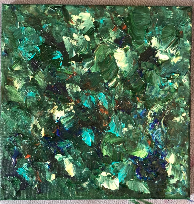 blue artwork green artwork acrylic painting abstract art original art one-of-a-kind unique gift home decor Forest Floor