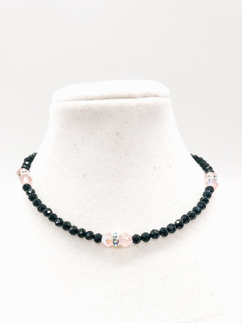 Sterling Silver Natural Black Spinel Beaded Bracelet with Austria Bicone Crystal and Diamond Rhinestone Accents gift for her