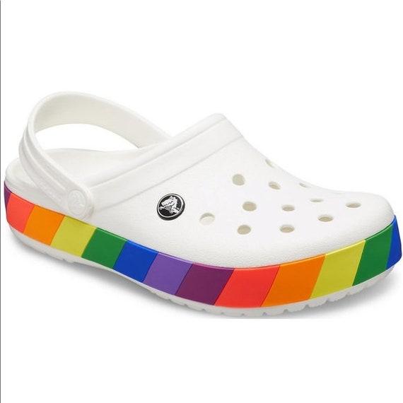 Crocs CROCBAND RAINBOW 206361W White-Multi Shoes 7