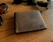 Engraved Mens Leather Wallet, RFID Tech Bifold Wallet With Clear ID Pocket,