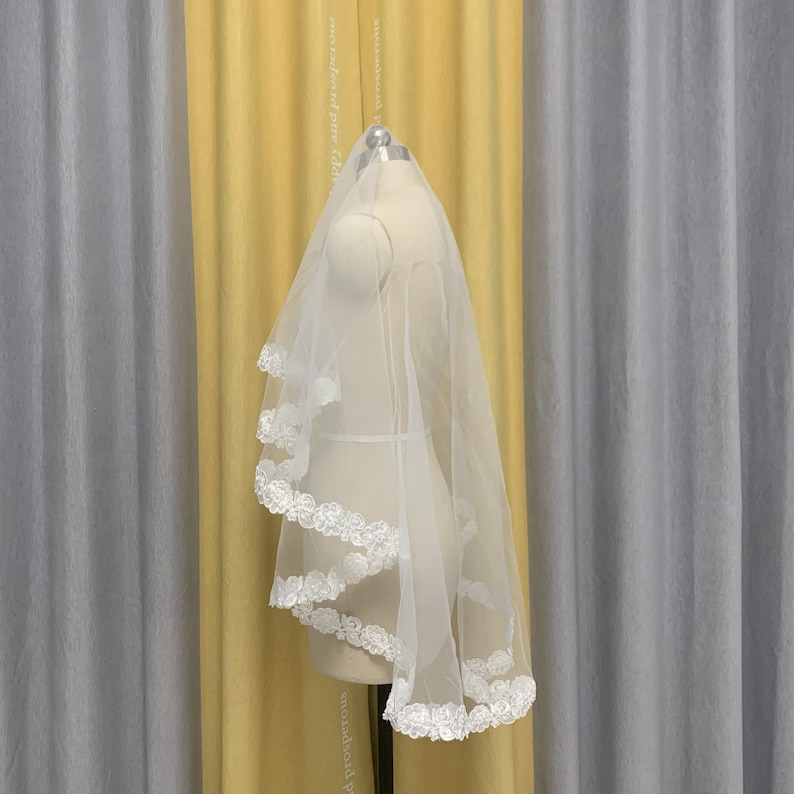 Soft Tulle Veil with Pearls Bridal Veil Lace Wedding Veil Short Pearl and Lace Wedding Veil Ivory Bridal Veil White Wedding Veil