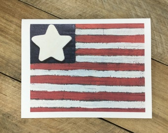 American Flag Note Card, Rustic Primitive Patriotic 4th of July Notecard, Independence Day, Red White and Blue Notes, USA
