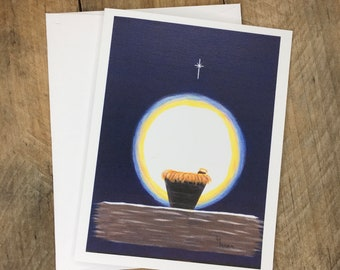 Manger Christmas Note Cards, Baby Jesus Painting, Handmade Religious Christian Christmas Cards with Christmas Story Bible Verses