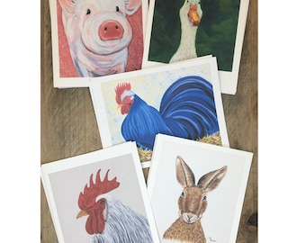 Assorted Note Cards Greeting Cards Set, Barnyard Animal Theme Notecards, Country Farm Blank Note Cards Set with Envelopes, Variety Cards Set