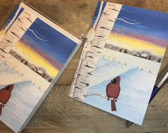 Christmas Cards Box Set, Winter Cardinal Holiday Card Set with Envelopes, Personalize with Name, Christmas Greeting Card Box, Red Bird