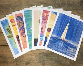 Variety Note Cards Set of 8, with Envelopes, Blank Inside, Palm Tree, Sailboat, Sandpiper, Handmade Note Cards, Print from Painting